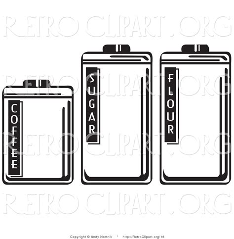 Retro Kitchen Canisters vector retro clipart of three storage canisters in a