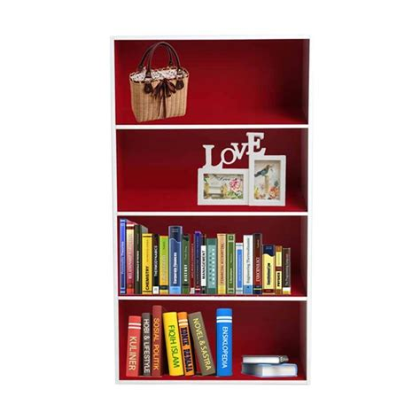 Rak Buku Funika jual funika 11242 rd wh rak buku merah putih 4 tingkat