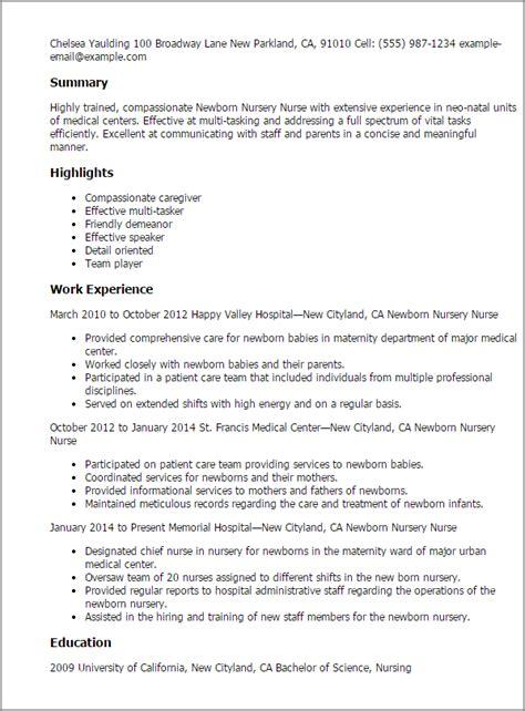 bsc nursing tutor resume sles newborn nursery resume template best design tips myperfectresume