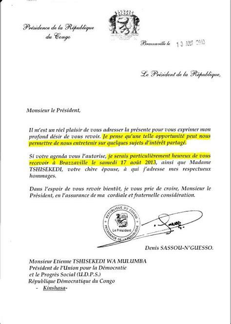 Exemple De Lettre D Invitation Dans Un Pays Voici La Copie De La Lettre D Invitation Officielle Du President Sassou A 249 President Tshisekedi