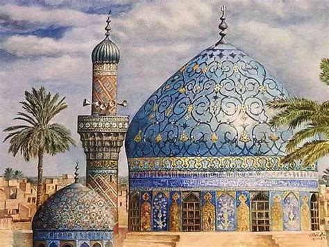 Islamic Artworks 61 19th century mosque drawing by artist khalid almudallal