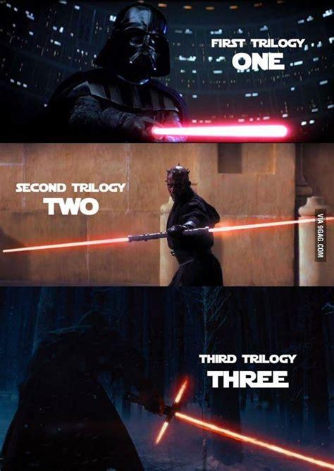 Lightsaber Meme - how many lightsabers in a trilogy crossguard lightsaber