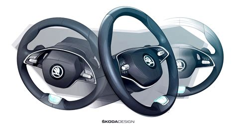 skoda octavia  spoke steering wheel design sketch