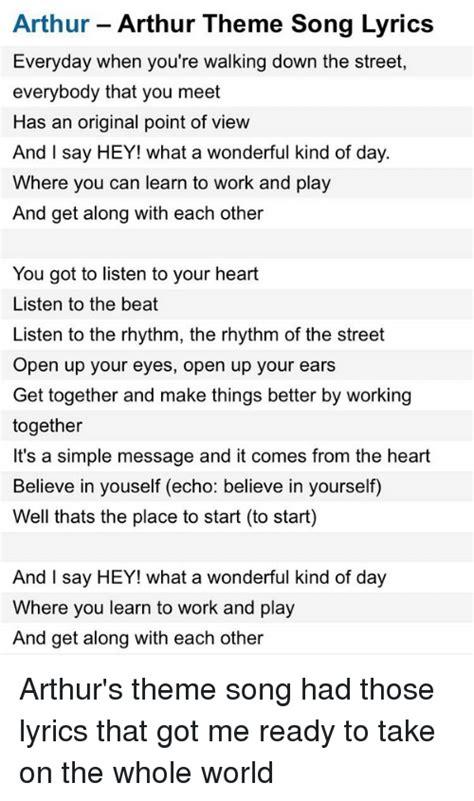 theme song arthur the world is a wonderful place song lyrics wonderful place