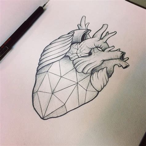 geometric heart tattoo request a geometric skull icandrawthat