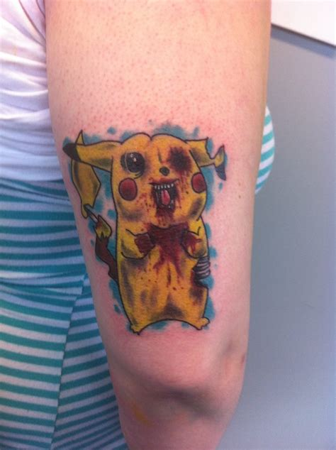 jason pikachu vs zombie pikachu tattoo done by brandoom zombie pikachu tattoo www pixshark com images