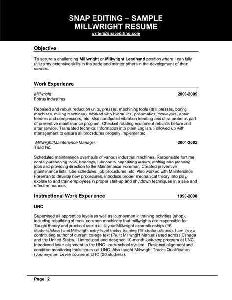 Millwright Apprentice Cover Letter by Millwright Resume Student Resume Template Student Resume Template