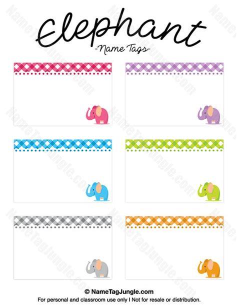 Printable Elephant Name Tags | free printable elephant name tags the template can also