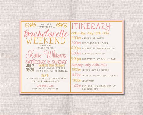 bachelorette itinerary template bachelorette weekend invitation and itinerary custom