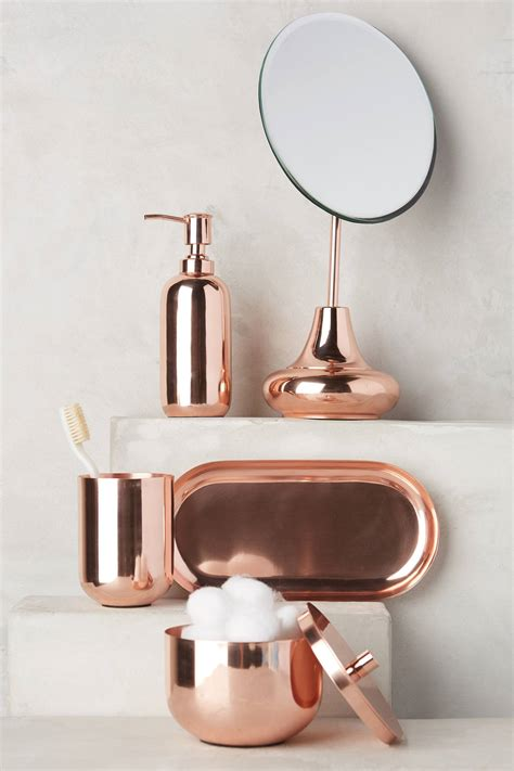copper decor accents copper bath accessories from anthropologie decoist