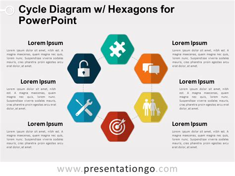 free powerpoint cycle diagrams cycle diagram with hexagons for powerpoint