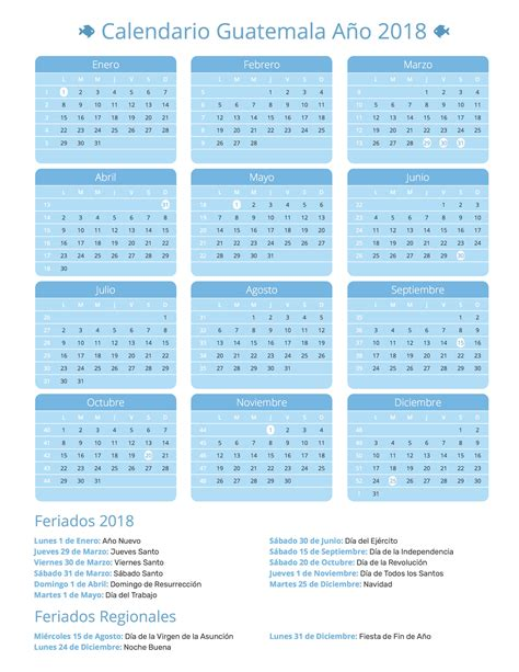 Calendario Guatemala Calendario Guatemala A 241 O 2018 Feriados