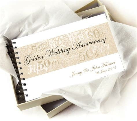 Wedding Anniversary Book by Personalised Golden Wedding Anniversary Guestbook By