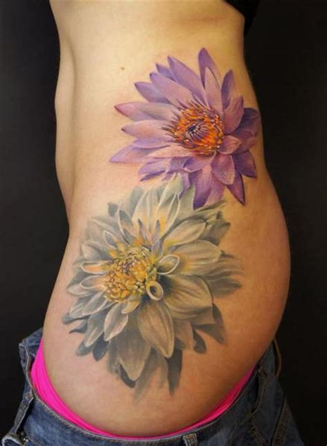 flower side tattoo by grimmy 3d tattoo