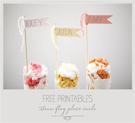 Free Diy Wedding Place Cards Templates by Free Printables Straw Flag Place Cards