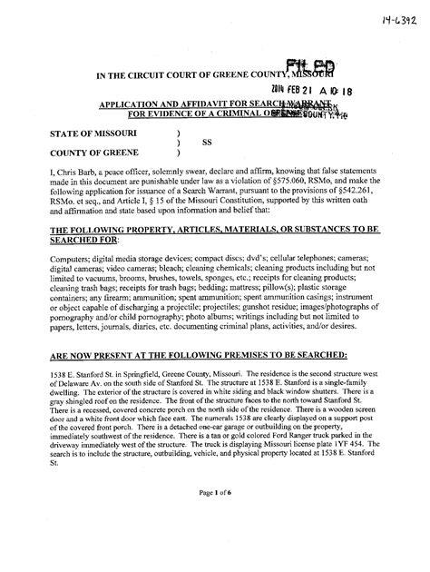 State Of Missouri Warrant Search Craig Michael Wood Springfield Missouri Arrested Feb 2014 Murder Child
