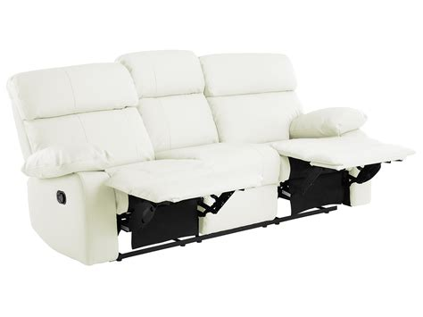 off white leather recliner sheffield large sofa with manual recliners in off white