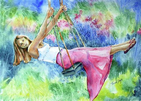 painting of woman on swing girl on a swing painting by trudi doyle