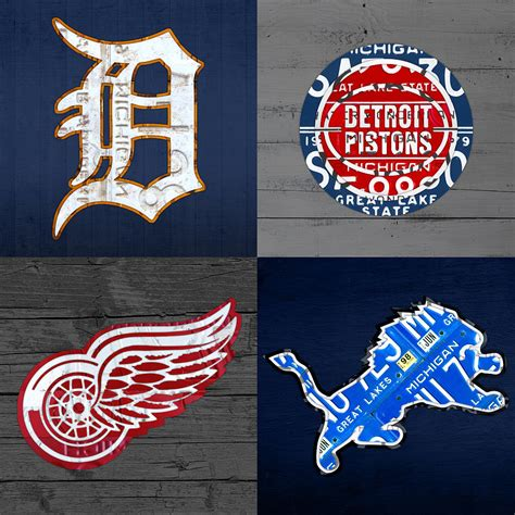 all sports fan detroit sports fan recycled vintage michigan license plate