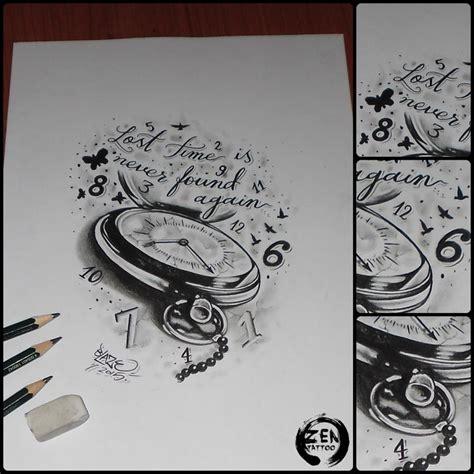 geometric tattoo zagreb lost time clock tattoo design by blaze clock time