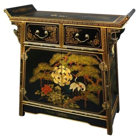oriental accent l company oriental furniture lacquer altar accent chest in gold leaf