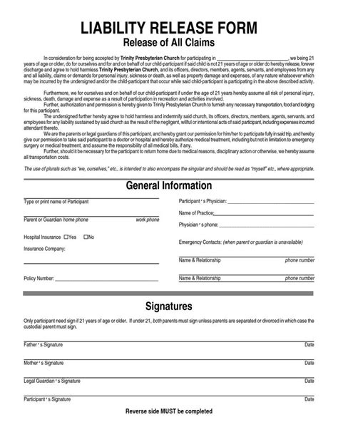 free release form template general liability waiver form general liability release