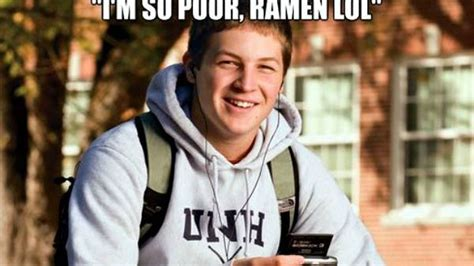 Senior In College Meme - guy in college freshman meme now stars in a new college