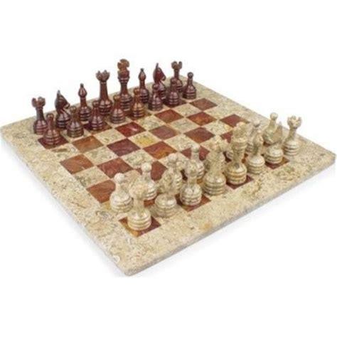 fossil marble onyx chess set staunton free gift box