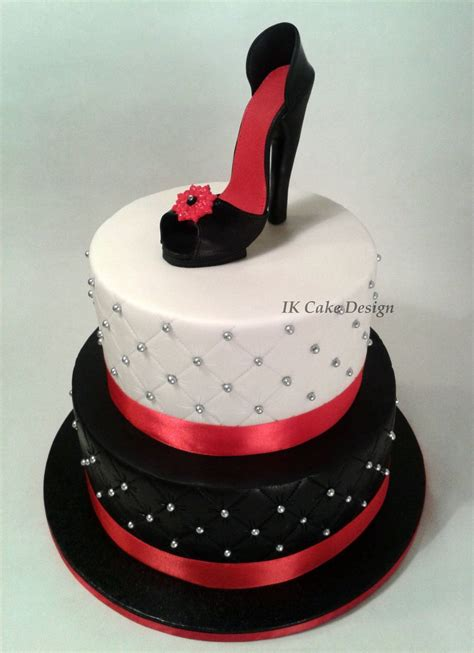high heel shoe birthday cake black and white quilted cake topped with a and black