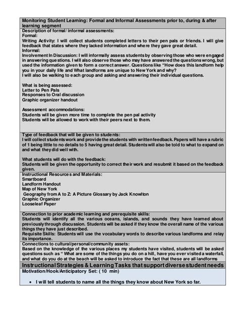 Lesson Plan Template Nyc by Edtpa Childhood Lesson Plan Template Lesson All 3