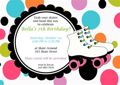 free printable roller skating invitations