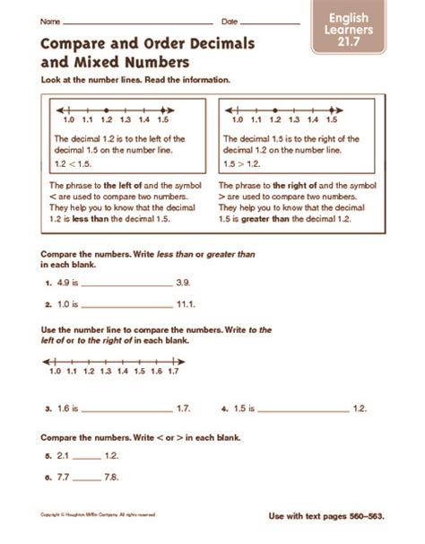 Comparing And Ordering Whole Numbers Worksheets 4th Grade by 5th Grade 187 Comparing And Ordering Whole Numbers