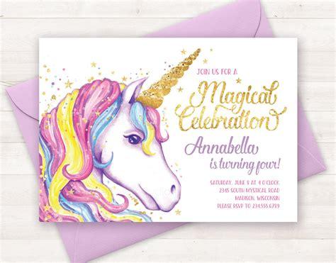 unicorn birthday card template unicorn invitation unicorn birthday invitation unicorn