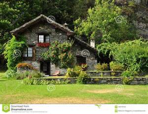 Free Small Cabin Plans Dream Stone House And Garden In The Italian Alps Stock