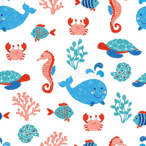 cute baby pattern stock vector image of horse collection cute sea animals seamless pattern stock vector