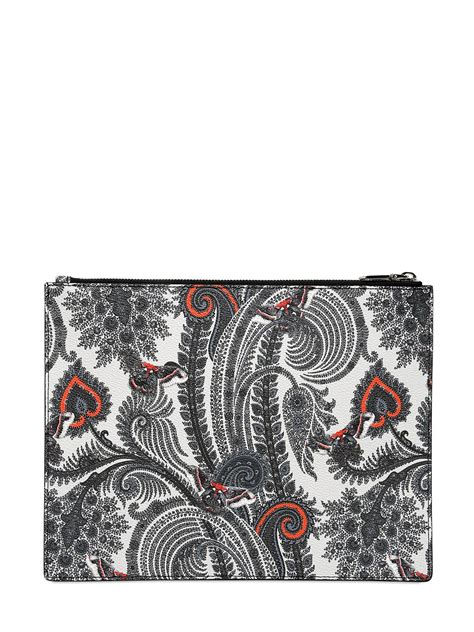 Print Faux Leather Pouch lyst givenchy large paisley print faux leather pouch in