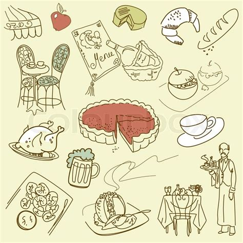 doodle food vector free food doodles cuisine vector colourbox