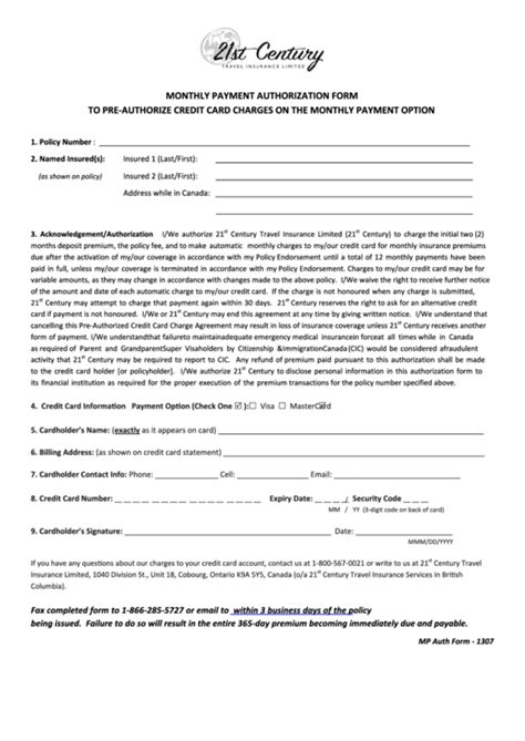 Credit Card Charges Template by Fillable Monthly Payment Authorization Form To Pre