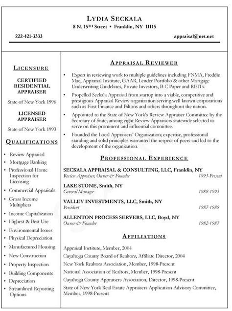 Real Estate Appraiser Resume Exle Realtor Resume Template