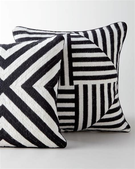 black and white cusions black and white striped geometric bargello pillows