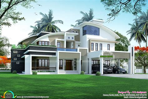 www kerala home design blogs 5 bhk contemporary style curved roof kerala home design