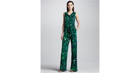Ll Jamsuit Fantasi escada palm print jersey jumpsuit in green lyst