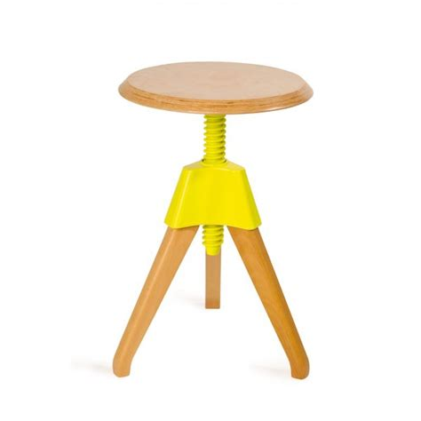 yellow wood adjustable stool from haus uk