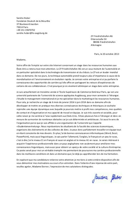 Lettre De Motivation Anglais Stage à L étranger Lettre De Motivation
