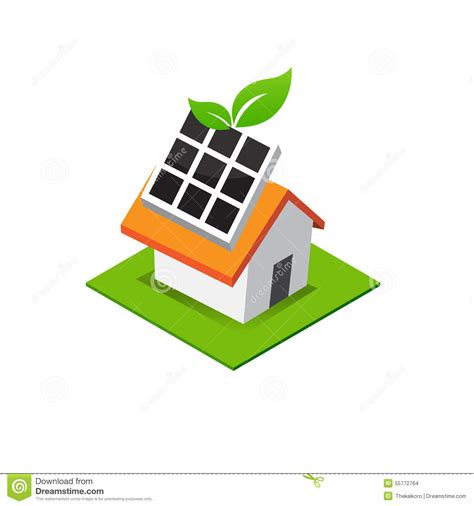 Interior Design Home Based Business isometric house with solar cell power on roof eco home