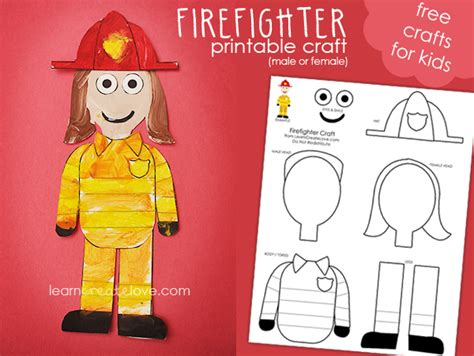 firefighter crafts for printable firefighter craft