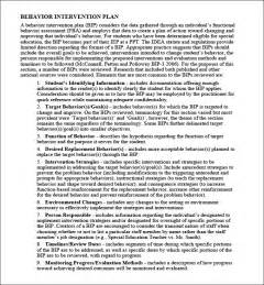 Sle Behavior Intervention Plan Template by Behavior Intervention Plan Template 4 Free Word Pdf
