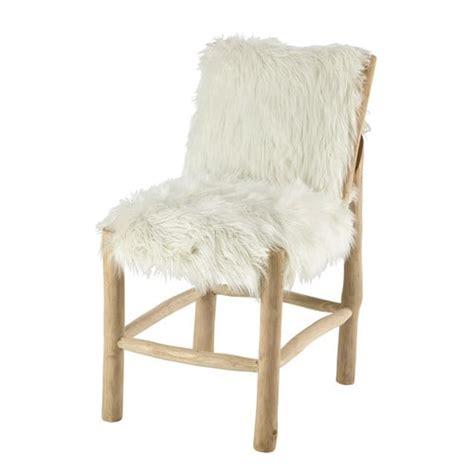 White Fur Chair by Teak And Faux Fur Chair In White Alaska Maisons Du Monde