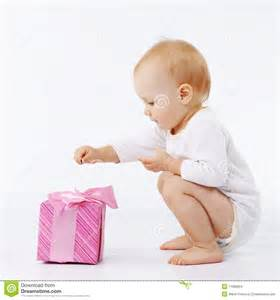 Gift From Baby - baby with gift box stock images image 11986904