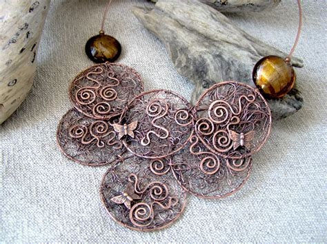 Handmade Copper Jewellery Uk - bridal jewellery wire moon